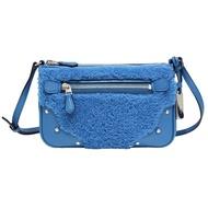【COACH】鉚釘毛絨拼接皮革斜背包-孔雀藍(小)