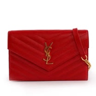 【YSL】V紋 logo荔枝皮金鏈 WOC 斜背包(紅色) 393953 BOW01 6515