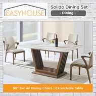 Solido Dining Set | Dining | Marble Table Top | Wood Table Leg Base