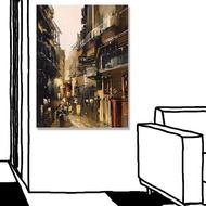 【24mama 掛畫】單聯式 油畫布 建築 小巷 現代藝術 插圖繪畫 街道 無框畫-30x40cm(城市景觀畫)