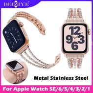 สาย นาฬิกา สำหรับ Apple Watch SE 6 5 4 Band 40mm Wrist strap 44mm with crystal diamond rhinestone Stainless steel strap สำหรับ apple watch Series SE 6 5 4 3 2 1 42mm 38mm สายนาฬิกา สายโลหะ สายเหล็ก