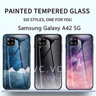 Samsung Galaxy A42 5G Starry Sky Tempered Glass Case For samsung a42 Hard Cover