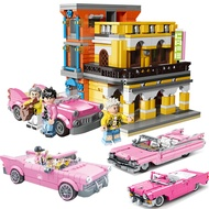 Compatible with Lego Creative Street View Series Mojito Cafe Jay Chou Guitar Singer Pink Car Model Children's Puzzle Insert Small Particle Building Block Toy Birthday Christmas Gift 10001