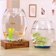 【迷你魚缸】✶✐魚缸玻璃創意圓形水培透明客廳小型辦公室桌面小型金魚迷你小魚缸