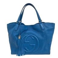 【GUCCI 古馳】SOHO系列大LOGO流蘇吊飾小牛皮肩背包(大-土耳其藍/展示品282309-BLUE)
