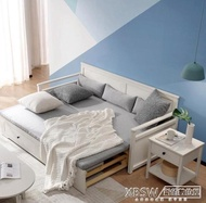 林氏木業簡約現代小戶型雙人坐臥兩用沙發床實木框伸縮抽拉床