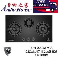 EF EFH-7633WT VGB 78CM BUILT-IN GLASS HOB 3 BURNERS