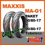 MAXXIS MA-G1 GREEN DEVIL PAKET 90/80-17 dan  90/80-17 BAN TUBELESS SOFT COMPOUND. GRIP MAXIMAL