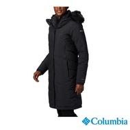 【Columbia 哥倫比亞】女款- 防水Omni-Heat鋁點保暖600羽絨長版外套-黑色(UWR15070BK / 保暖.防水.羽絨)