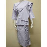 ชุดขาวปฏิบัติธรรมผู้หญิง เสื้อและผ้านุ่งถือศีล ผ้าสไบ ยี่ห้อรัตนาภรณ์ ราคาแยกชิ้น RT102