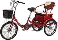 Adult Tricycle 6 Speed Foldable Tricycle 20 Inch Trike Bike Bicycle Red 3-Wheel Bicycle Adjustable Backrest Seat For Picnic Shopping Work Men Women