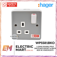 Hager WPSS81BKO 13A 1 Gang Double Pole Switched Socket and Back Box with Knockouts metalclad EAN: 3250617260978