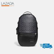 COACHกระเป๋า Pacer Backpack With Coach Patch ผ้า Canvas เคลือบลายซิกเนเจอร์ สีเทา ส่งฟรี