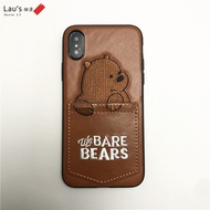/ phone case / We Bare Bears Leather iPhone X Casing 8 / 7 / 6S / 6 Plus Phone Case Back Cover Prote