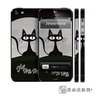 【 iPhone5全身貼 卡通黑貓 】Jewenew 杰葳新 5S SE 磨砂全身貼 機身貼 保護貼 側邊 菲林因斯特