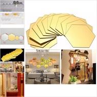 【aosu•OAS】12Pcs 3D Mirror Hexagon Vinyl Removable Wall Sticker Decal Home Deco