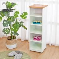 【南亞塑鋼】1尺開放式五格收納置物櫃/隙縫櫃/鞋櫃(原木色+白色)