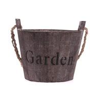 กระถางดอกไม้ทำจากไม้,กระถางไม้อวบน้ำในสวนถังทรงกลมสไตล์ย้อนยุค