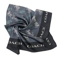 COACH 經典馬車LOGO桑蠶絲絲巾方巾(馬車藍)