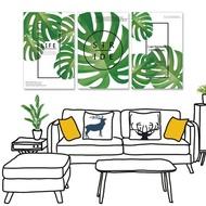 【24mama 掛畫】三聯式 油畫布 北歐 簡約 植物 綠色 勵志 英文 龜背竹 龜背芋 無框畫-40x60cm(簡單生活)