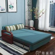 沙發床可變形超人氣簡易實木沙發床兩用雙人1.5米多功能可折疊小戶型客廳沙發可變床JD cy潮流站