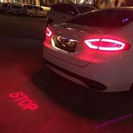 ☺  汽車車尾投影燈LED改裝燈鐳射車標照地燈定制LOGO(stop)
