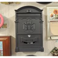歐式信箱 消光黑色信箱 藝術造型信箱 戶外信箱 鑄鋁信箱 歐風信箱 郵箱 郵筒 鐵藝信箱 附兩支鑰匙