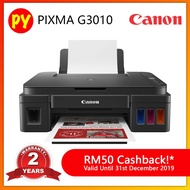 Canon PIXMA G3010 All-In-One Original Refillable Ink Tank Color Printer + RM 50 Cash Back by Canon! - Compatible ink GI-790 BCMY