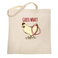 Guess What? Chicken Butt Funny Large Canvas Tote Bag Women