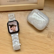 ขาวแววาวเปลือกหอย Applewatch ชุดหูฟังไร้สายเคสสำหรับ Apple Iwatch สายเรซิน
