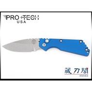 《藏刀閣》PRO-TECH-(2401-BL)Pro-Strider SnG-合作款藍色鋁柄彈簧刀