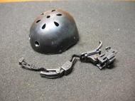 AJ1特戰部門 HOTTOYS美軍1/6黑色舊化傘兵盔一頂(洞洞安全帽) 附夜視鏡座 mini模型 LT:8611