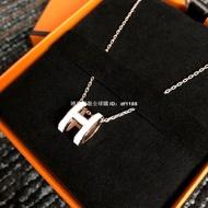 萊兒代購 新加坡 Hermes項鏈 愛馬仕 pop H 橢圓  黑金  白金  粉銀 琺瑯 軟鏈 現貨