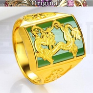 916 real gold inlaid jade dragon pattern zodiac opening with gem agate ring ring 916 gold male ring jewelry