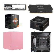 【主機也能很藝術】AMD【6核】Ryzen5 5600G+技嘉 B550I AORUS PRO AX+美光 Micron Crucial Ballistix D4 3600 16Gx2-黑+金士頓 KC2500 500G+全漢 聖武士 350W+JONSBO 喬思伯 C2-粉紅