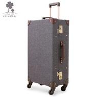【cwxchy】uniwalker復古行李箱萬向輪拉桿箱男商務旅行箱紳士灰登機箱20寸