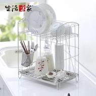 【生活采家】台灣製304不鏽鋼組合式雙層餐具碗盤瀝水架(#27249)