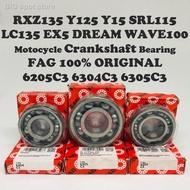 ✐▼◘FAG ( C3 ) Motorcycle Crankshaft Bearing RXZ Y125 Y15 SRL110 SRL115 LC135 EX5 WAVE100 100% ORIGINAL 6205C3 6304C3 630