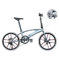 🌟In Stock🌟 Hito X6 20/22-inch Double Tube Folding Bicycle Ultra-light Magnesium Alloy Portable Disc Brake Adult Road Foldable Bike Free Installation (Customize 20 Inch Please Leave Message)