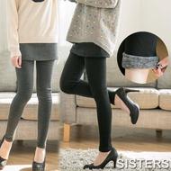 【SISTERS】加大內刷毛假兩件厚綿短裙貼腿內搭褲(共二色)