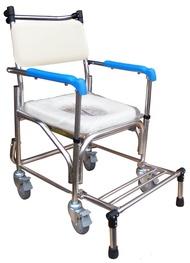 永大醫療~杏華不鏽鋼四輪洗澡椅-扶手可掀+站立式腳架特價4280元