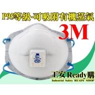 <工安READY購>3M 8577 呼吸氣閥 有機蒸氣 P95等級 活性碳 口罩 工業 實驗室 石化 農業 10個/盒