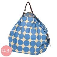 日本 MARNA - Shupatto 秒收摺疊購物袋-藍點點 (M(30x35cm))-耐重5kg / 14.5L