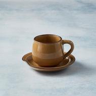 【有種創意食器】日本美濃燒 - 圓口咖啡杯碟組(赭黃)