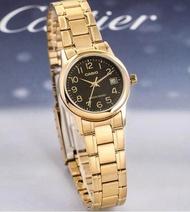 Casio Standard รุ่น LTP-V002G-1B นาฬิกาข้อมือผู้หญิง สายสแตนเลสสีทอง/หน้าปัดดำ (สินค้าของแท้ 100% ประกันศูนย์ 1 ปี)
