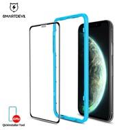 SmartDevil ฟิล์มกระจกนิรภัยป้องกันฝุ่นเต็มรูปแบบสำหรับ Apple iPhone 11 11Pro 11ProMax iPhone X XS XSMax XR ใสและดำ