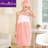ฤดูร้อนส่วนบนกระโปรงอาบน้ำ,ผ้าคลุมอาบน้ำผู้หญิง,เสื้อผ้าอบไอน้ำ,ดูดซับหนาสามารถสวมใส่ผ้าเช็ดตัว,Coral ขนแกะหมวกคลุมอาบน้ำ