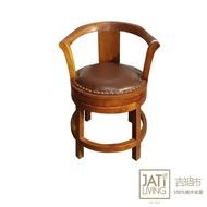 【吉迪市柚木家具】柚木皮革旋轉造型椅