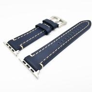 หนังแท้สำหรับ iWatch Apple นาฬิกา 5 4 3 2 1 44 มม.42 มม.40 มม.38 มม.สายรัดข้อมือสร้อยข้อมือสายสีน้ำเงิน