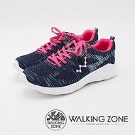 WALKING ZONE 天痕戶外W系列 飛線編織慢跑休閒 女鞋-藍(另有黑)